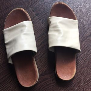 Worn once vegan leather slide sandals